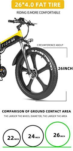 41pCOkX7prL - ride66 e Bike Mountainbike elektrofahrrad klapprad 26 Zoll Doppelbatterie 1000W ebike für Damen Herren