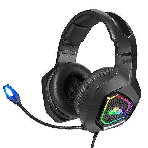 Rii K5 Auriculares Gaming con Micrófono, Auriculares con Cable para PC, Auriculares Diadema con 3.5mm Jack con Luz