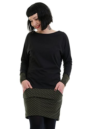 3Elfen Minikleid Langarm Kleid Damen Winterkleid Mini Rock Jerseykleid Baumwolle schwarz grün Retro...