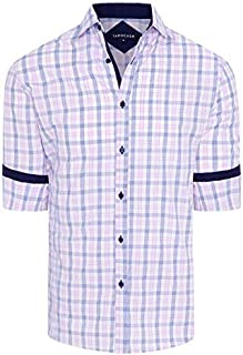 Tarocash Men's Sprigett Check Shirt Regular Fit Long Sleeve Sizes XS-5XL for Going Out Smart Occasionwear