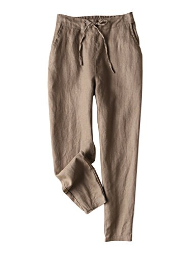 IXIMO Women's Tapered Pants 100% Linen Drawstring Back Elastic Waist Pants Trousers with Pockets Dark Khaki Large