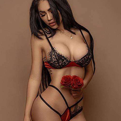 CHBY Conjuntos de lencería para Mujer Body erótico de Mujer Lencería Sexy Mujer Sentido Cuerda Encaje Tres Puntos Estilo-Red_XXL
