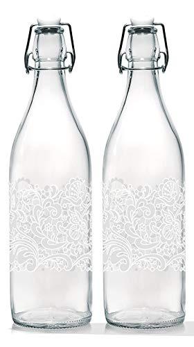 Baroni Home Set di 2 Bottiglie Acqua di Vetro da tavola Decorata con Tappo ermetico Trina Bianca Made in Italy capienza 1l