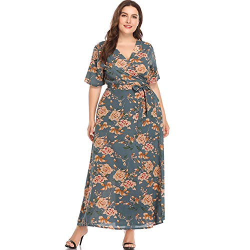 Luck Man Floral Print Summer Women Boho Dress Plus Size V Neck High Waist Ankle Beach Dresses Dark Grey
