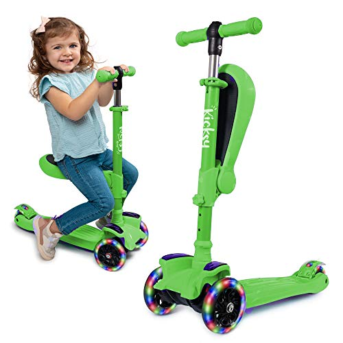 Kicsky Wheels Scooters for Kids with Seat Folding and Removable - 3 Wheel Toddler Scooter for Boys & Girls - Toddlers and Kids Toys for 2 Year Old and Up - Three Heights & Light Up Wheels (Green)