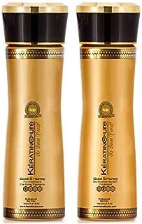Keratin Cure 0% Formaldehyde Bio-Brazilian Hair Treatment- #1 and #2 Touch Up 2 Time Gold & Honey 2 piece kit 160ml / 5.41 fl oz