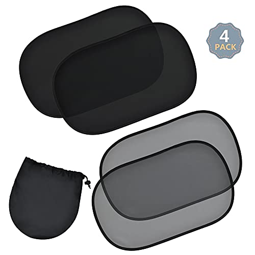 EcoNour Car Side Window Shade 20x12 (4 Pack) | Baby, Pet Friendly Car Cling Sun...