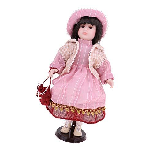 Fenteer 40cm Schöne Porzellan Mädchen Puppe Porzellanpuppe Mit Kleidung Dekofigur Sammlerstück - F