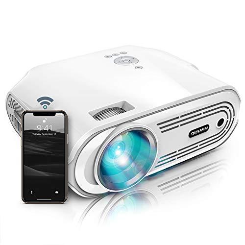 Proyector WiFi, proyector de vídeo de 4000 lúmenes, 1080P y soporte de pantalla de 200 pulgadas, 40.000 horas de vida de la lámpara LED, proyector portátil compatible con HDMI/USB/AV/SD/VGA/TV Stick