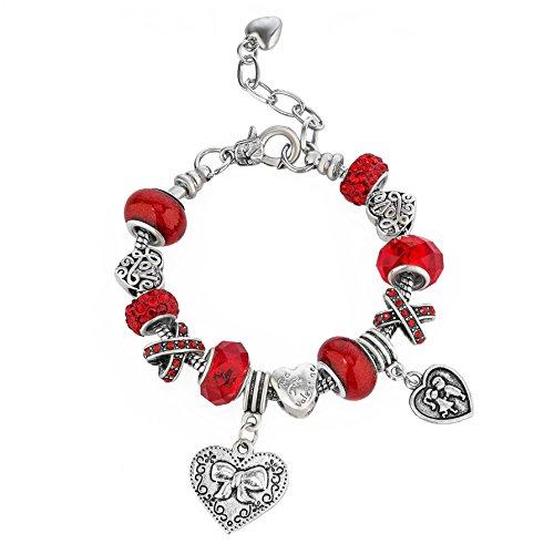 Brazalete Encantado - Pulsera Ajustable 15-22 cm Rojo corazón Amor para Mujer Adolescente niña pequeña mamá - Accesorio de Regalo Chapado en 925 Plata esterlina