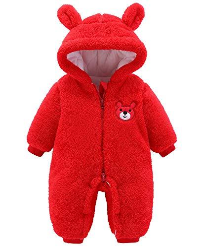 Bébé Flanelle Barboteuses Combinaison De Neige Chaude En Coton Polaire à Capuche Manches Chaude En Coton D'hiver Manteau Pour Bébé Fille Garçon,Red-3M