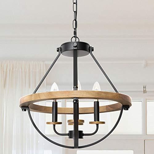 WOAEKR Rustic Farmhouse Wood Chandelier, 4-Light Adjustable Height Lantern Pendant Light, Lighting Fixtures for Dining Room Kitchen Hallway Entryway