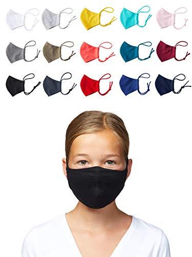 Enter the Complex® Mund und Nasenmaske Waschbar bei 60 Grad, zum Binden, Weiche Behelfsmaske für Kinder und Jugendliche, 6 bis 13 Jahre, Baumwolle, Schwarz