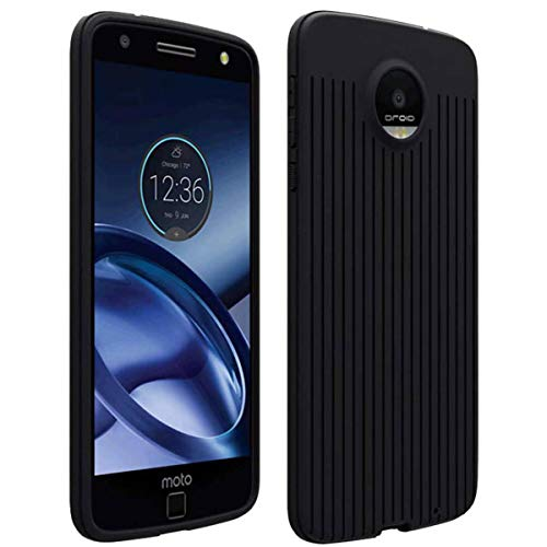 Silicone Case for Moto Z Force Droid - Ultra Slim Rubber Shockproof Cover for Motorola Z Force Droid Phone - Black