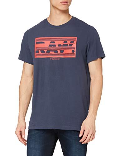 G-STAR RAW Boxed Raw Graphic Straight Camiseta, Indigo 336/857, Medium Mens