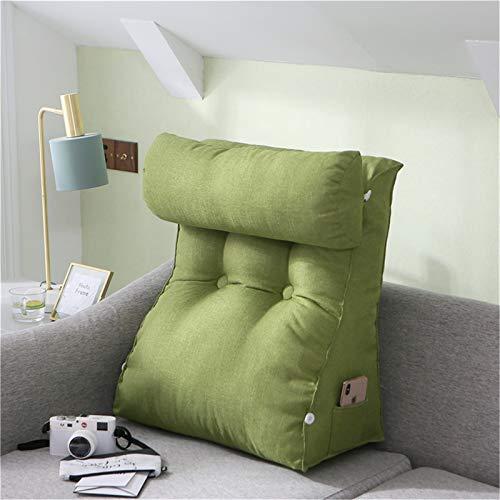 RAILONCH Cojín triangular para la espalda, cojín de apoyo para la espalda con cojín cervical extraíble, cómodo y ergonómico, para la lectura, para la cama, el sofá (verde oliva, 60 x 50 x 20 cm)