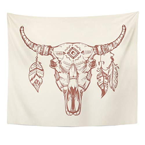 Emvency Wall Tapestry Skeleton Aztec Tribal Buffalo Skull Tattoo Dead Animal Cow Totem with Feathers Western Bison Bone Bull Cattle Death Decor Wall Hanging Picnic Bedsheet Blanket 60x50 Inches