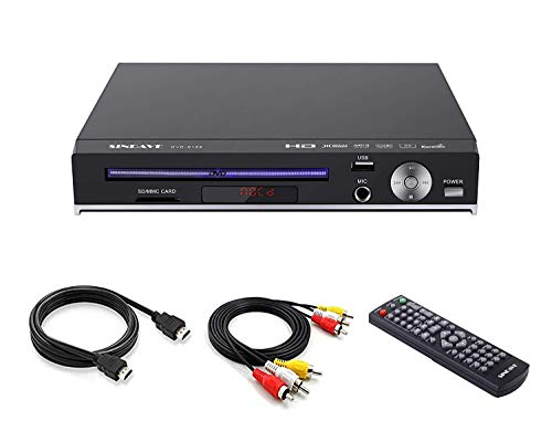 DVD Player, DVD Plays for TV, Sindave Home DVD Player Compact Region Free DVD Play with Remote Full HD 1080p UpConverting DivX, USB Direct Copying and Playback, SD Cardreader Karaoke Mic Port