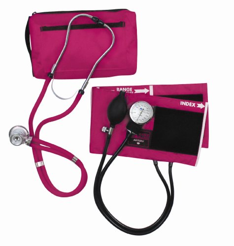 DMI MatchMates Aneroid Sphygmomanometer Manual Blood Pressure Kit and Stethoscope with Calibrated Nylon Cuff and Carrying Case, Magenta -  Mabis, 01-360-151