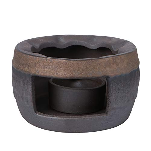 PIXNOR - Tetera caliente retro de cerámica caliente de té - Estufa de porcelana para horno de calefacción - Salvamanteles - Vela encendida - Base para tetera de cristal resistente a la