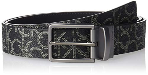 Calvin Klein Men's 35mm Ck Logo Reversible Strap Belt, black, 32