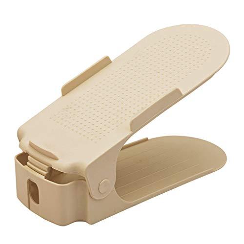 rongweiwang Zapata Ajustable Talones Organizador Zapatilla de Deporte Altas-Bajas de Pisos Sandalias Doble Zapato del sostenedor del Estante de Almacenamiento, Beige