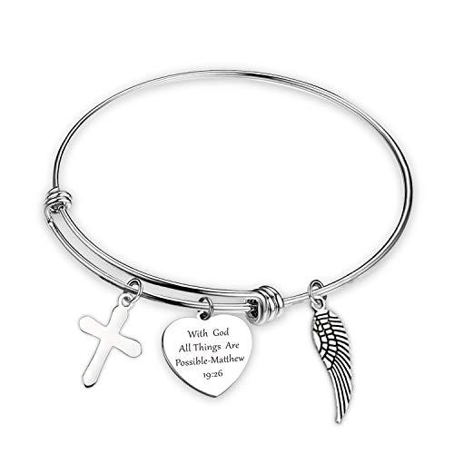 SIDIMELO - Pulsera Religiosa para la fe Cristiana, Regalo de Amistad, con Letras de Dios Todas Las Cosas, joyería inspiradora, Regalo de cumpleaños, para Hermanas, Pulsera de alas
