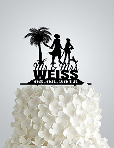 Acrylic Wedding cake Topper inspired by Pirates and the Caribbean
