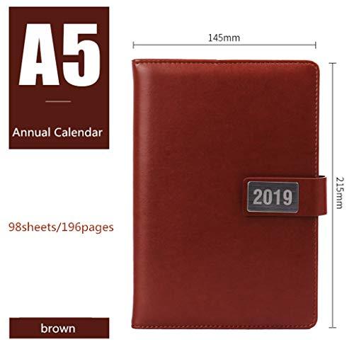 LIUCHEN@ Cuaderno2019 Cuaderno Calendario anual Calendario bullet journal Organizador Agenda Diario Carpeta Oficina Escolar Planificador Estudiante Papelería Regalo, marrón