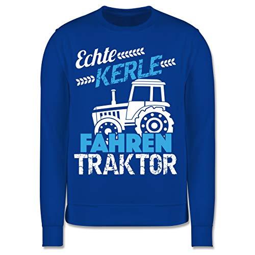 Shirtracer Fahrzeuge Kind - Echte Kerle Fahren Traktor - 104 (3/4 Jahre) - Royalblau - Pullover trecker - JH030K - Kinder Pullover