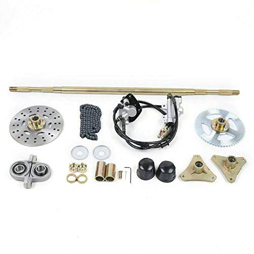 DENESTUS 740mm Go Kart Live Rear Axle Complete Kit with Brake Assembly and T8F Chain Sprocket for DIY or Quad Trike Golf Carts
