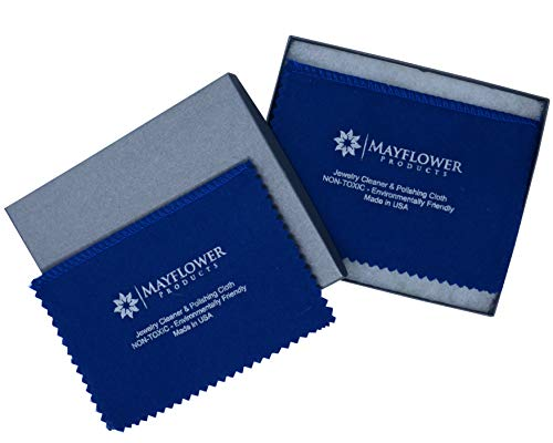 Mayflower Polishing Cloth Set of 2 Cleaning Cloths and Gift-Box. Made in USA 100% Cotton Jewelry Cleaner for Silver, Gold and Platinum. Non Toxic, 8 x 6 In Each. Tarnish Remover Shine Jewelry Like New