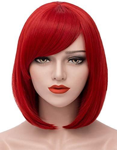 Mersi Red Wigs for Women 11'' Short Bob Hair Wig with Oblique Bangs Natural Cute Synthetic Straight Wigs for Daily Party Halloween Cosplay S009R