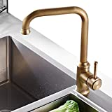NEWRAIN <span class='highlight'>Kitchen</span> Sink <span class='highlight'>Taps</span> <span class='highlight'>Mixer</span> Solid Brass Monobloc Single Lever 360 Swivel Spout <span class='highlight'>Kitchen</span> Sink <span class='highlight'>Basin</span> <span class='highlight'>Mixer</span> Tap,with Flexible Hoses and Fittings,Antique Brass