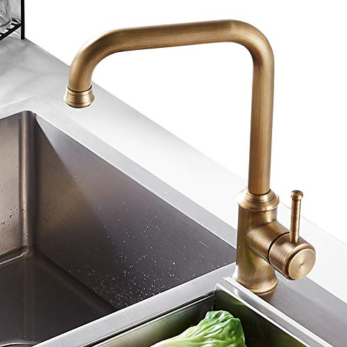 NEWRAIN Kitchen Sink Taps Mixer Solid Brass Monobloc Single Lever 360 Swivel Spout Kitchen Sink Basin Mixer Tap,with Flexible Hoses and Fittings,Antique Brass
