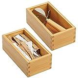 mDesign Juego de 2 organizadores de cajones para la cocina – Cajas organizadoras modulares para accesorios de cocina y más – Separador de cajones de bambú – marrón claro