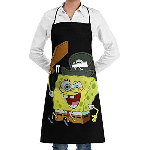 N\A Tablier de Cuisine Bob l'éponge, Tablier de Cuisine et de Restaurant à bavette Professionnelle pour Hommes et Femmes, Tablier de Chef