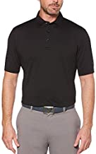 Callaway Men's Standard Micro Hex Solid Short Sleeve Golf Polo Shirt, Caviar/Grey, Large