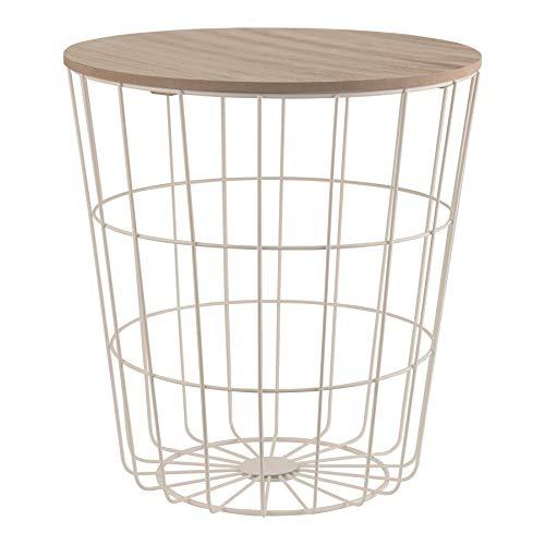 Design-Beistelltisch weiß - Metallkorb mit Holzdeckel - Dekorativer Sofatisch inkl. Korbablage - Mit Stauraum für Decken, Zeitungen & Kissen - Ideal für Wohnzimmer, Schlafzimmer, Esszimmer & Flur
