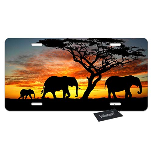 WONDERTIFY License Plate Elephant Family Walking on The Grassland Sunset Decorative Car Front License Plate,Vanity Tag,Metal Car Plate,Aluminum Novelty License Plate,6 X 12 Inch (4 Holes)