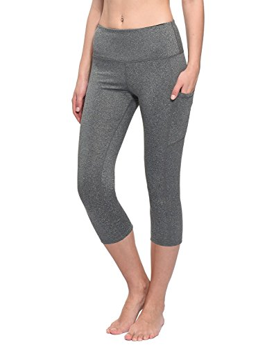 BALEAF Women's Workout Yoga High Waist Capris Pocketed Cropped Leggings 3/4 Exercise Athletic Tights Heather Grey Size L
