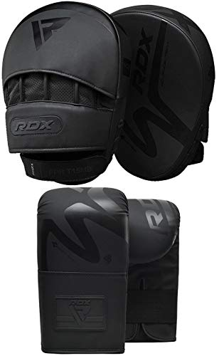 RDX Boxing Pads and Bag Gloves Set, Convex Skin Leather Hook and Jab Target Focus with Punch Mitts, Hand Strike Shield for Muay Thai, Boxercise, Kickboxing, Martial Arts, Karate, MMA Training