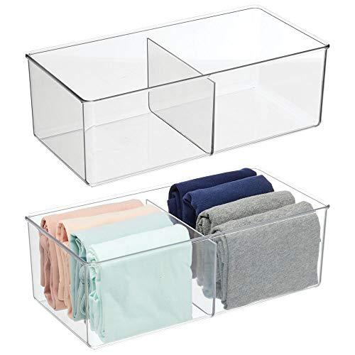 mDesign Contenitore portaoggetti a 2 scomparti – Pratica scatola trasparente per la camera da letto – Porta oggetti in plastica senza BPA ideale per abbigliamento e accessori – Set da 2 – trasparente
