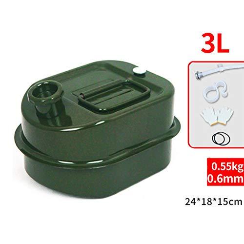 Benzinkanister 3L 5L 3 / 5Liters Metall Fuel Tank Oil Barrel Benzin Diesel Kanister Wasserspeicher Can Motorrad LKW Autozubehör (Size : 3L)