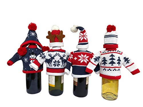 Pack of 4 Christmas Knitted Sweaters and Hats For Wine Bottle Covers Christmas Party Decoration Gift