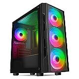 CiT Flash ARGB PC-Gaming-Gehäuse, M-ATX, 4 x 120 mm ARGB-Regenbogen-Lüfter inklusive, gehärtetes Glas, LED-Taste, 8 Lüfter, Wasserkühlung, Schwarz