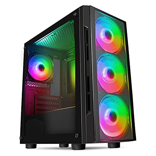 CiT Flash ARGB - Funda para PC para Juegos, M-ATX, 4 Ventiladores ARGB Rainbow de 120 mm incluidos, Cristal Templado, botón LED, Soporte para 8 Ventiladores, Listo para Enfriar el Agua, Color Negro