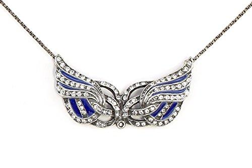 925er Silber emailliertes Jugendstil-Collier mit Swarovski-Steinen Flügel blau