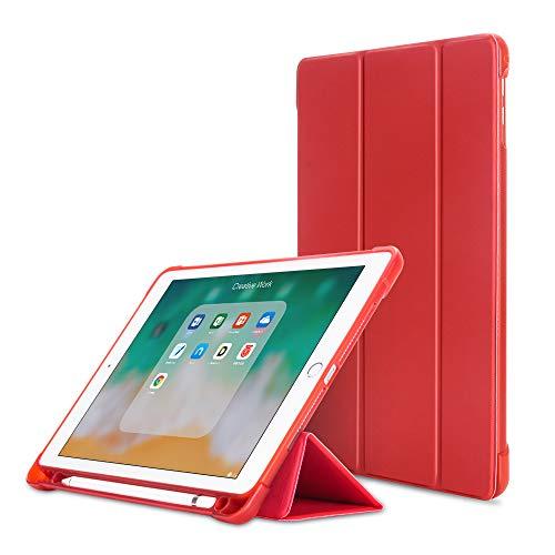 MadeRy Coque pour iPad Mini 5 (2019) / iPad Mini 4 / Mini 3 / Mini 2 / Mini 7.9 inch, Ultra-Mince et Léger TPU Étui avec Pencil Holder et Veille/Réveil Automatique, Rouge