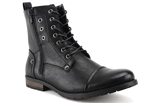 Bonafini Men's D-703 Tall Goth Punk Biker Zippered Boots, Black, 7.5